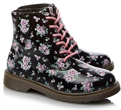 Floral Lace Up Boots for Girls