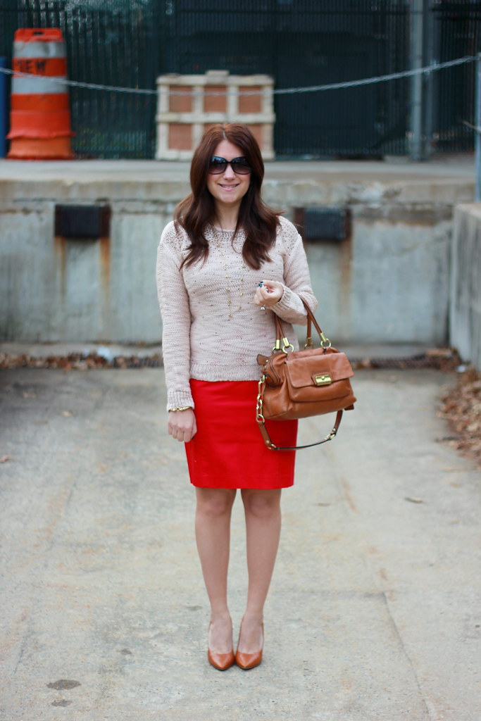 Dorothy Perkins Scatter Stud Jumper paired with a red skirt for work outfit