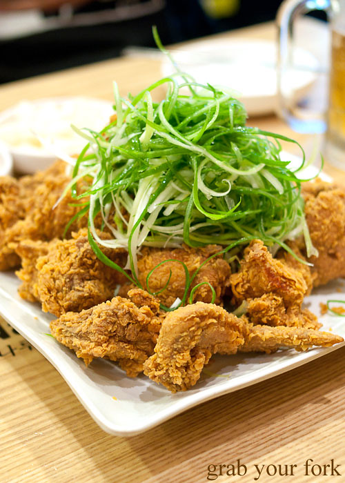 korean fried chicken with spring onion at naruone one pitt street sydney