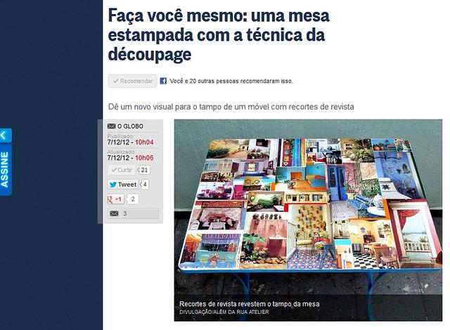 Um passo a passo que fiz, no site do jornal O Globo!