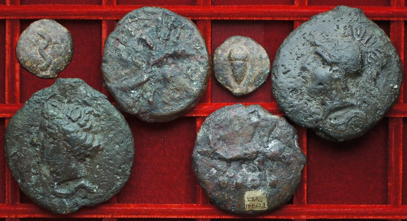 RRC 14 Apollo Mercury series Aes Grave semis, triens, uncia, Ahala collection, coins of the Roman Republic