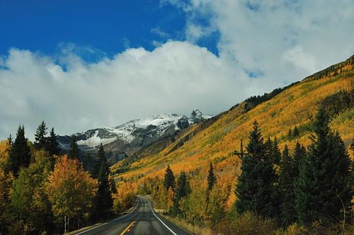 colorado snowcappedmountains milliondollarhighway ironton goldenaspens