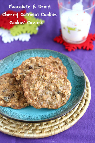 Chocolate & Dried Cherry Oatmeal Cookie Recipe & My First Video by Cookin' Canuck