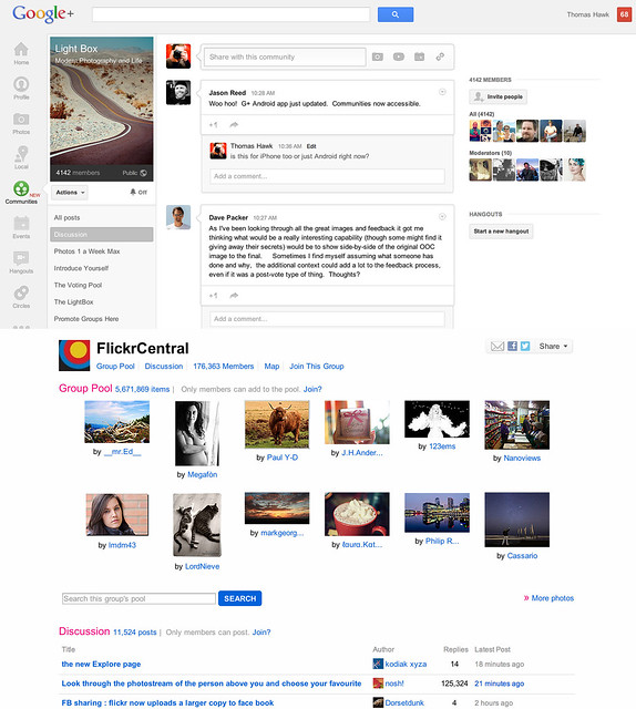 Google+ Communities vs Flickr Groups