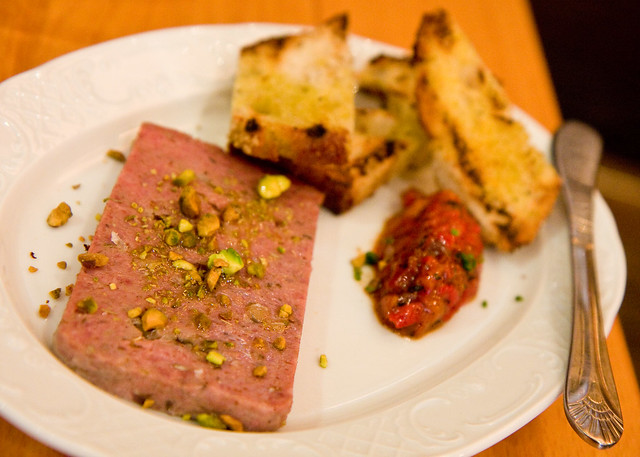 Italian sausage pate with peppers, Torrisi