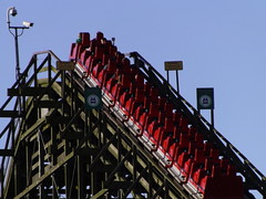 Red Train at the top of the Lift Hill