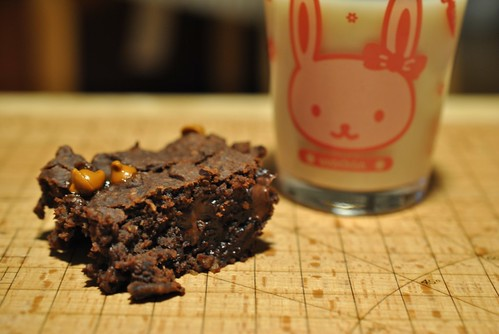 Black Bean Brownie and milk