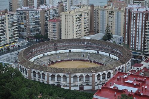 Malagueta bullring from Gibralfaro Parador