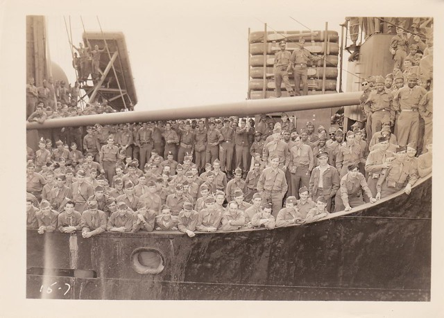 <strong>Returning WWII Troops arriving at New York aboard the SS Wheaton Victory </strong><br />  After the war, The Wheaton Victory merchant marine ship served as a troop transport, returning 900-1900 service personnel back to the States per trip. The troops lined the decks as the ship arrived at the docks in New York Harbor on August 2, 1946. Image courtesy of Colin Smith.
