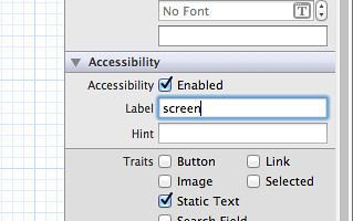"Set accessibility label as ""screen"""