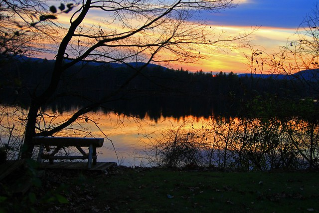 Our Adirondack Bench with an Adirondack View