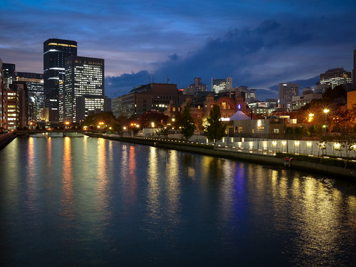 Tosabori river at night by hyossie