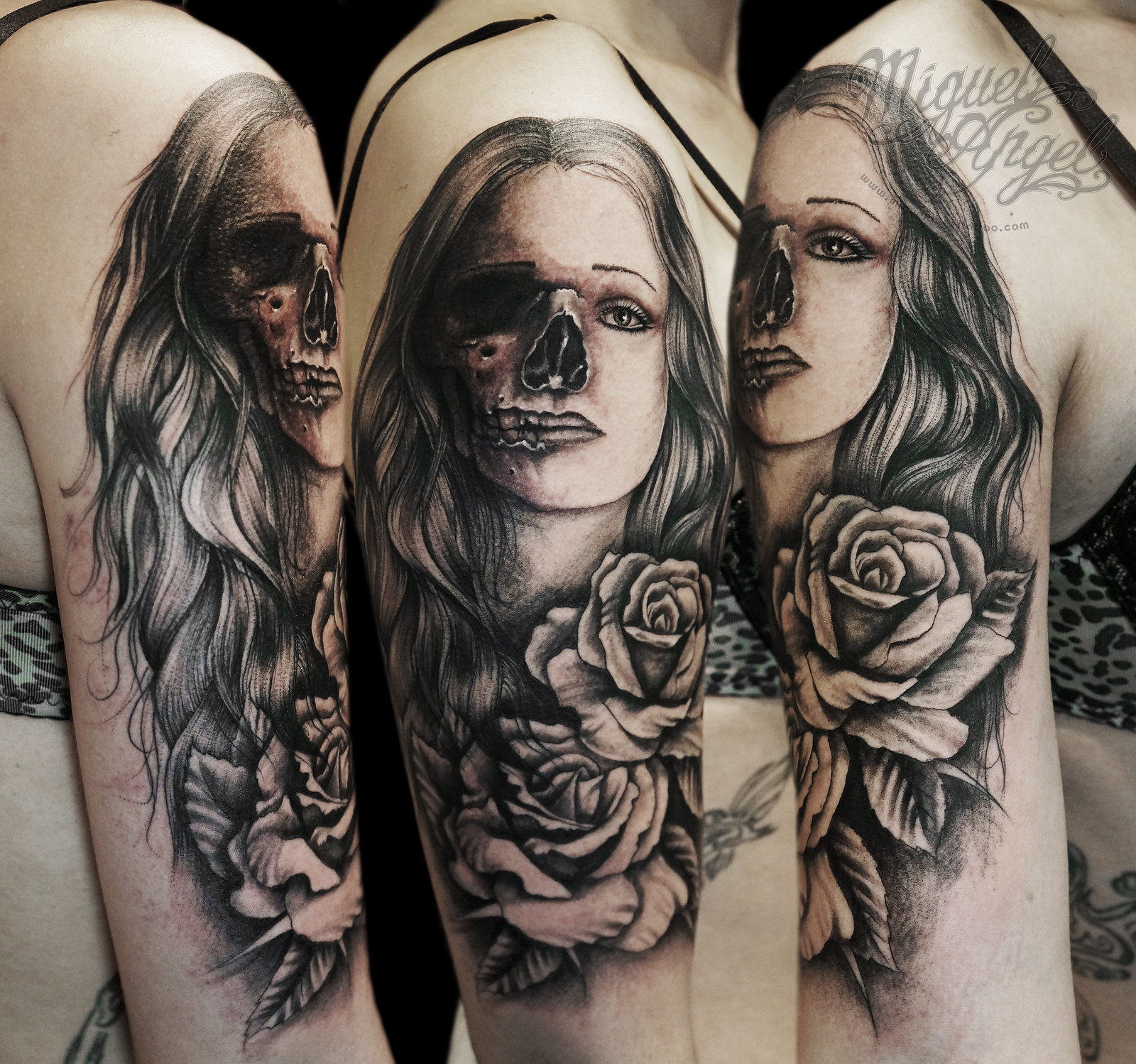 Custom Skull/woman and roses tattoo by Miguel Angel tattoo ...