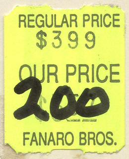 1982 Fanaro Bros Price Sticker