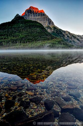 park lake reflection fog sunrise photography nikon montana hiking peak glacier upper national backpacking kintla lindhardt kinnerly d7k d7000 jlindhardt