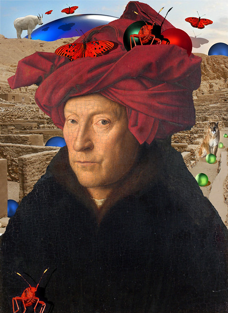Man in Red Turban Jan Van Eyck and Red Insect, Mountain Goat, Mountain Lion and Red Butterflies, Red, Green and Blue Balls 8 bp sbpx