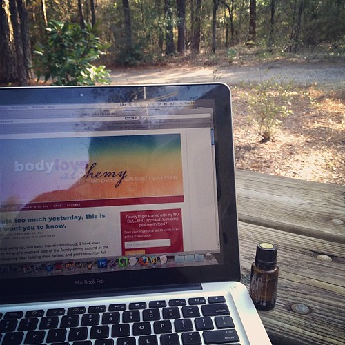 Getting ready for today's Tribe/Sisterhood call with @christieinge and enjoying the cool air and squirrel calls.