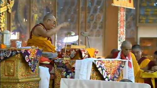 His Holiness the Great 13th Dalai Lama, making offerings, 18 Great Stages of the Path Commentaries, webcast, Dharamasala, India by Wonderlane