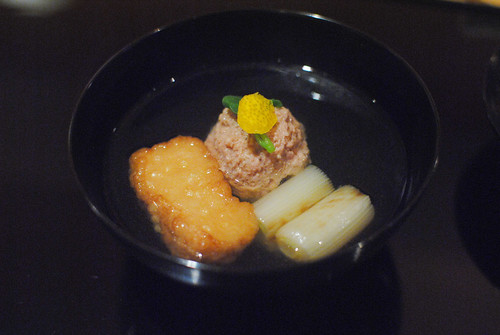 meatball, mochi, onion, dashi