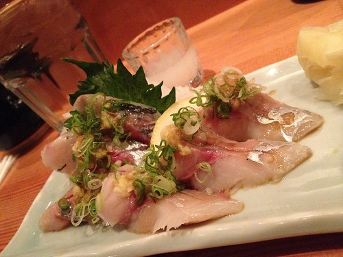 Horse mackerel with the little ginger and onion stuff.