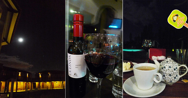 malbec and tea at Villa Mansa Wine Hotel