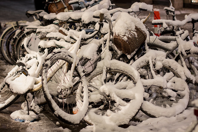 Piled Bikes in Snow