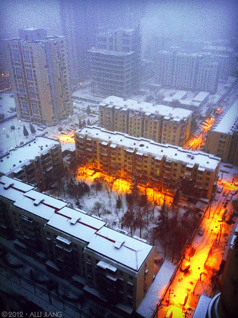 snow in beijing at dawn.