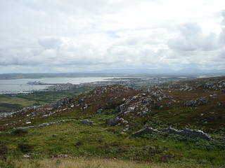 Anglesey from Holyhead mountain, with ferries for Ireland in view