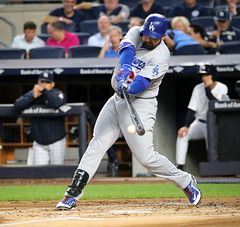 Photo of the Day Project, Sept. 12, 2016: The Dodgers' Adrian Gonzalez knocks in a run in the first inning.