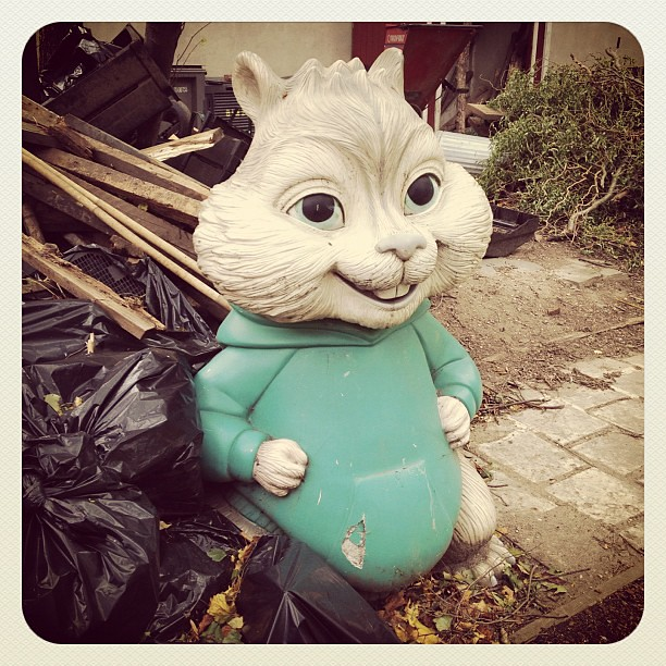 Theodore still smiling after #Sandy - at a community garden in #alphabetcity