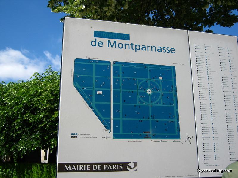 Map of Montparnasse cemetery