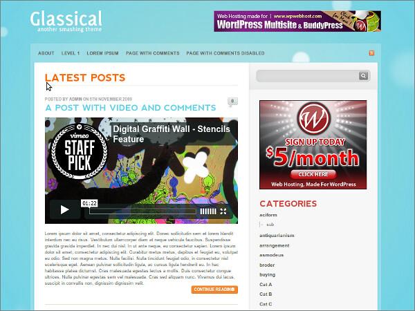 Glassical Free WordPress Theme