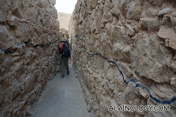 Walking between rock walls