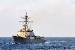 In this file photo, USS Mustin (DDG 89) steams in the Philippine Sea in November.(U.S. Navy photo by Mass Communication Specialist Seaman Declan Barnes)