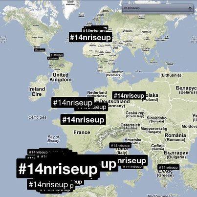 mapa hashtag #riseup a europa