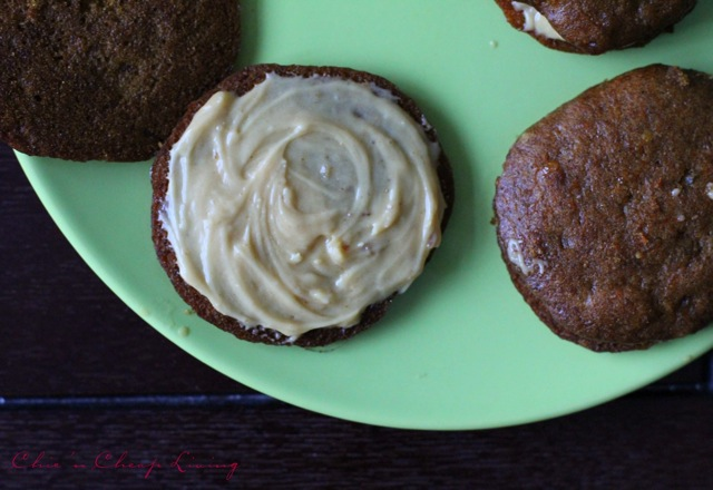 Pumpkin whoopie pies open faced with caramel frosting- by Chic n Cheap Living