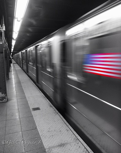 American flag on a subway train in NYC.