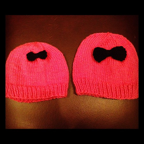 Hats with bows!! I made these for my friend who has a new baby and a two year old. by boyoma