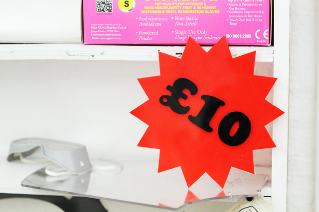 Tatty Devine perspex £10 sign