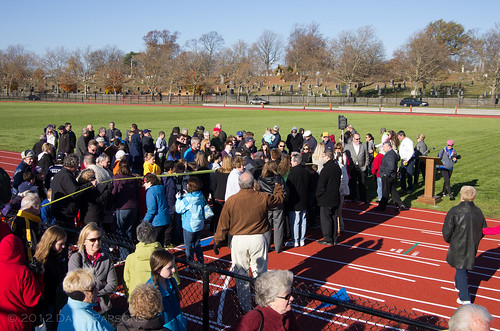 Faxon Field - Lining up for the ribbon cutting