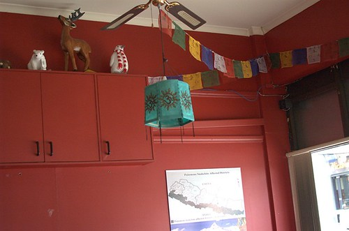 Prayer flags and lamp