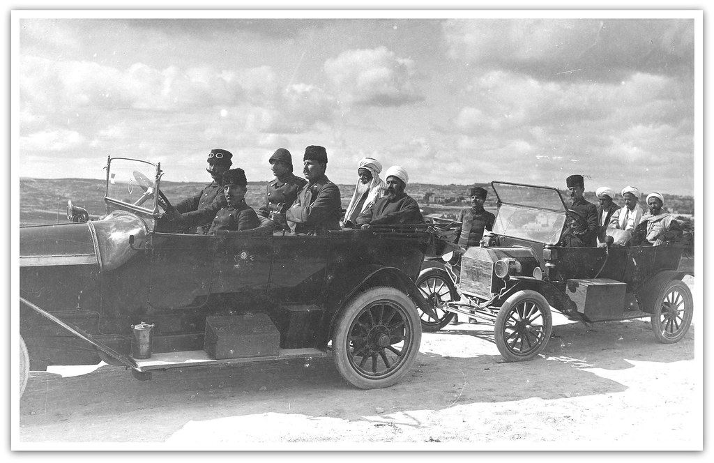 Ford Model T ( rear ) in Palestine circa 1916 - Yemenite Chiefs. Invited by Jamal [Cemal] Pasha to visit the Front, 1916.