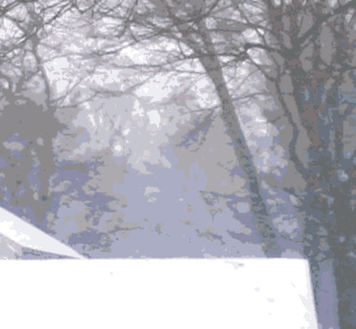 Roof Top and Trees in Snow Storm  (Digital Woodcut) by randubnick