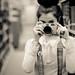 Missoula Portrait Photographer-Library Photography Shoot for Jaclyn. Sarah holding my Contax G1! by ayresphotography