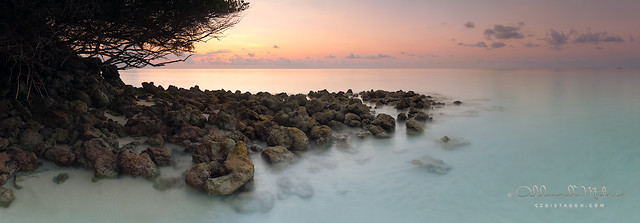 landscape panorama of the sunset on the Maldives
