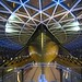 The hull of the Cutty Sark at night