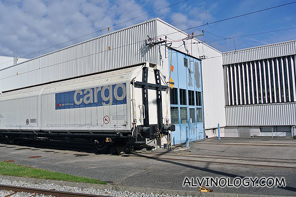 Cargo train sending out the chocolate from the Callier factory