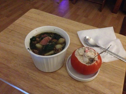 Is this so adorable?! Mock crab salad and spicy sausage kale soup! I am so spoiled. by gmwnet