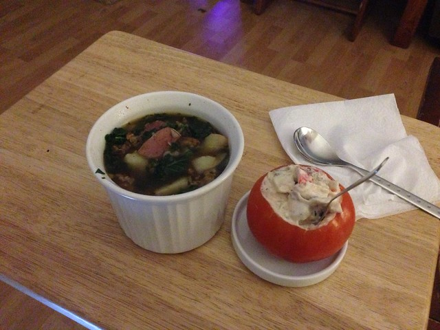 Is this so adorable?! Mock crab salad and spicy sausage kale soup! I am so spoiled.