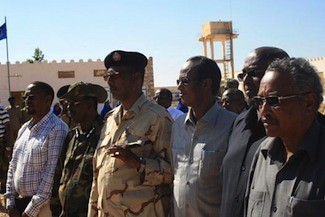 Puntland President Farole meets with the Armo Police Academy officials in late November 2012. Puntland is a breakaway region in the north of Somalia. by Pan-African News Wire File Photos